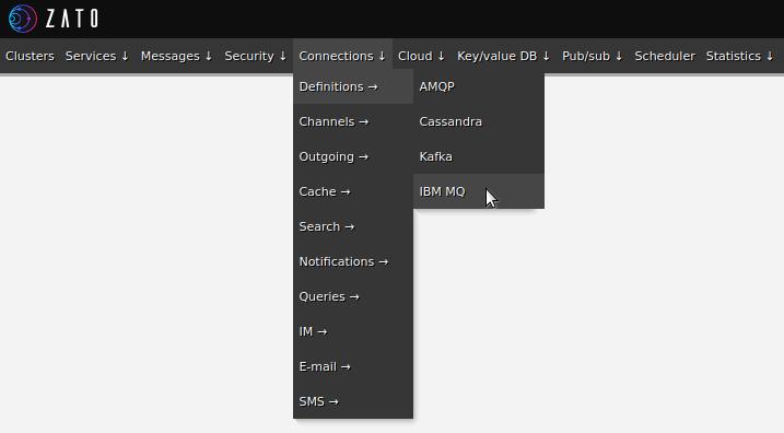 Zato web-admin connection definitions menu