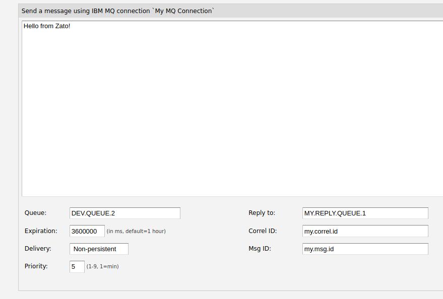Zato web-admin send IBM MQ message form