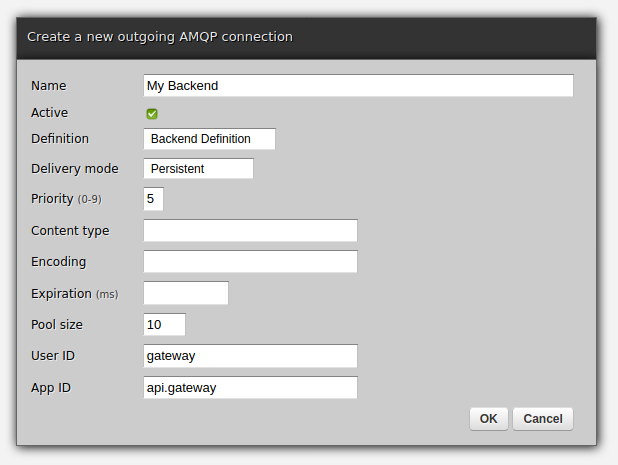 Zato Dashboard outgoing AMQP connection form