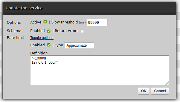 Configuring rate limits for service