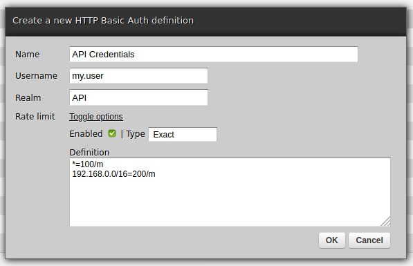 Configuring rate limits for user
