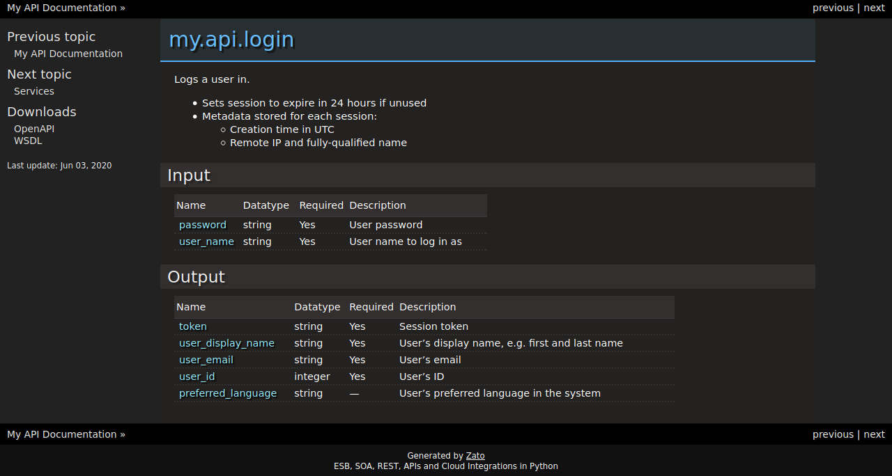 Zato API specification service