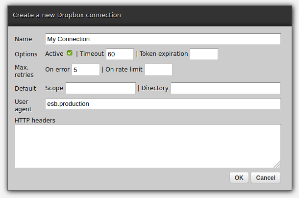 Web-admin - Dropbox connection creation form