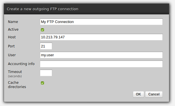 Web-admin - FTP connection creation form