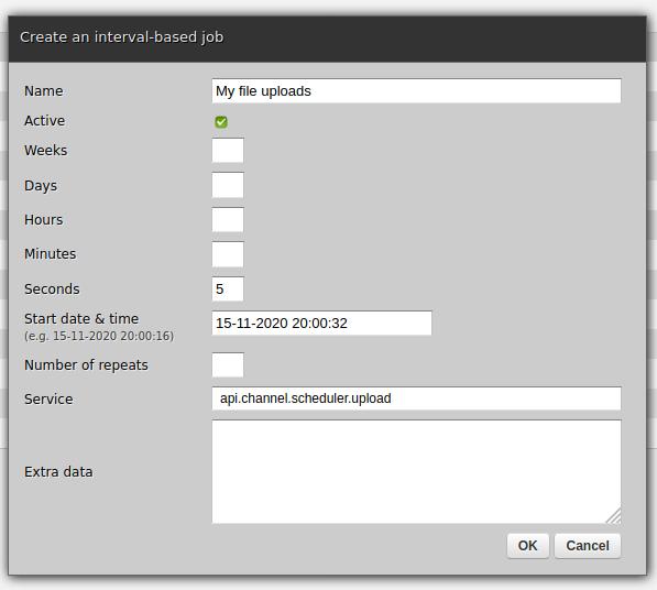 Web-admin - Scheduler, creating a new job