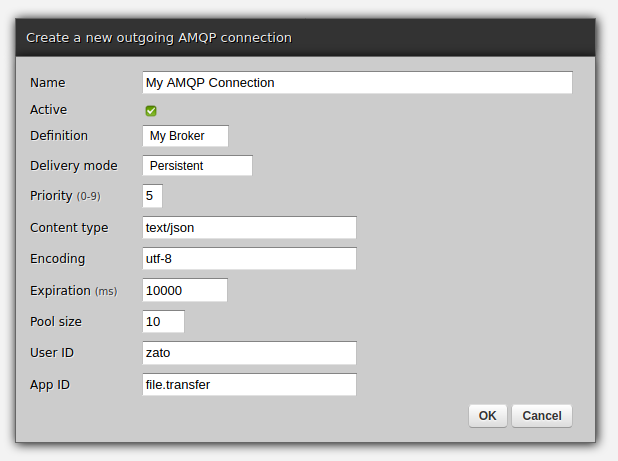 Creating a new AMQP connection in Zato web-admin