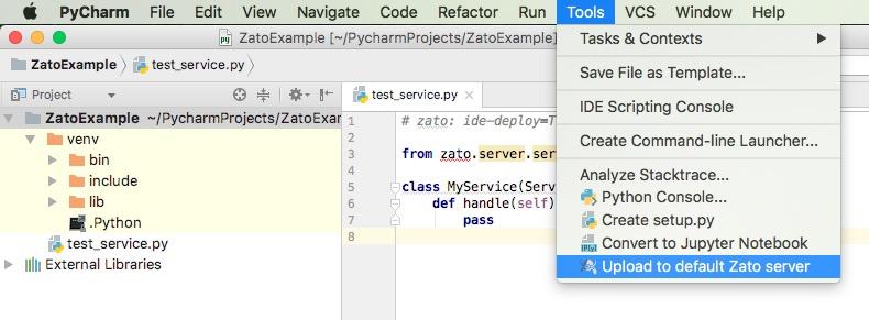 PyCharm and Visual Studio Code integration for Zato API services
