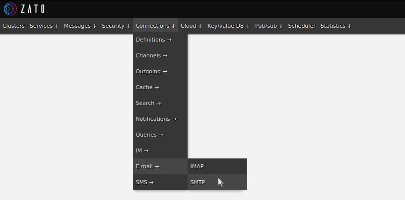 Outgoing SMTP e-mail connections menu