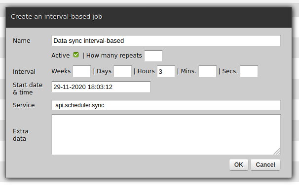 Creating a new interval-based scheduler job