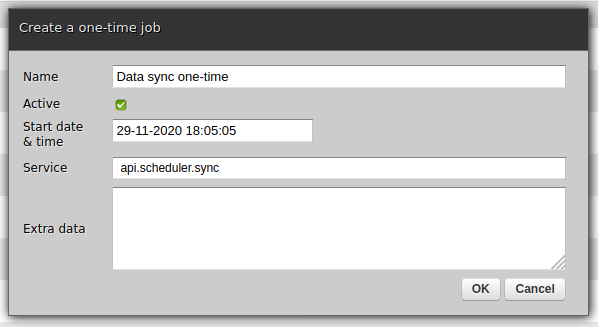 Creating a new one-time scheduler job