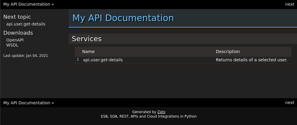Auto-generated API documentation index file