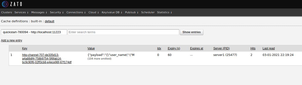 Zato web-admin built-in cache list