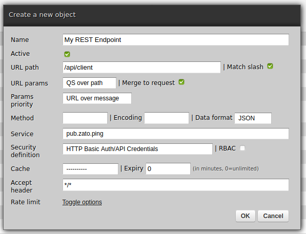 REST channel web-admin menu